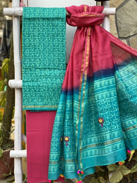 AQUA & PINK CHANDERI COTTON EMBROIDERED DUPATTA SET
