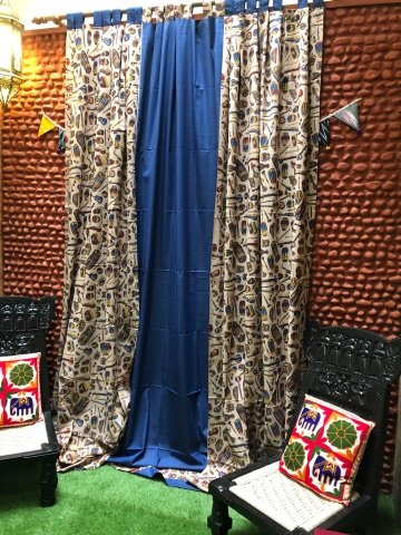 Beige Multi Color Kalamkari Block Print Cotton Woven Curtain (9ft)