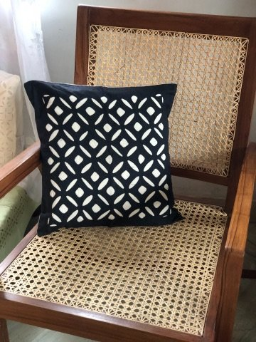 Black & White Cutwork Applique Cotton Organdy Cushion Cover 16x16