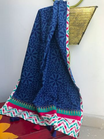 Blue Cotton Block Printed Stole