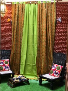 Green Multi Color Cotton Mangalgiri Ikkat Woven Curtain (9ft)