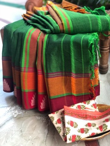 Green Woven Border Narayanpet Cotton Sari