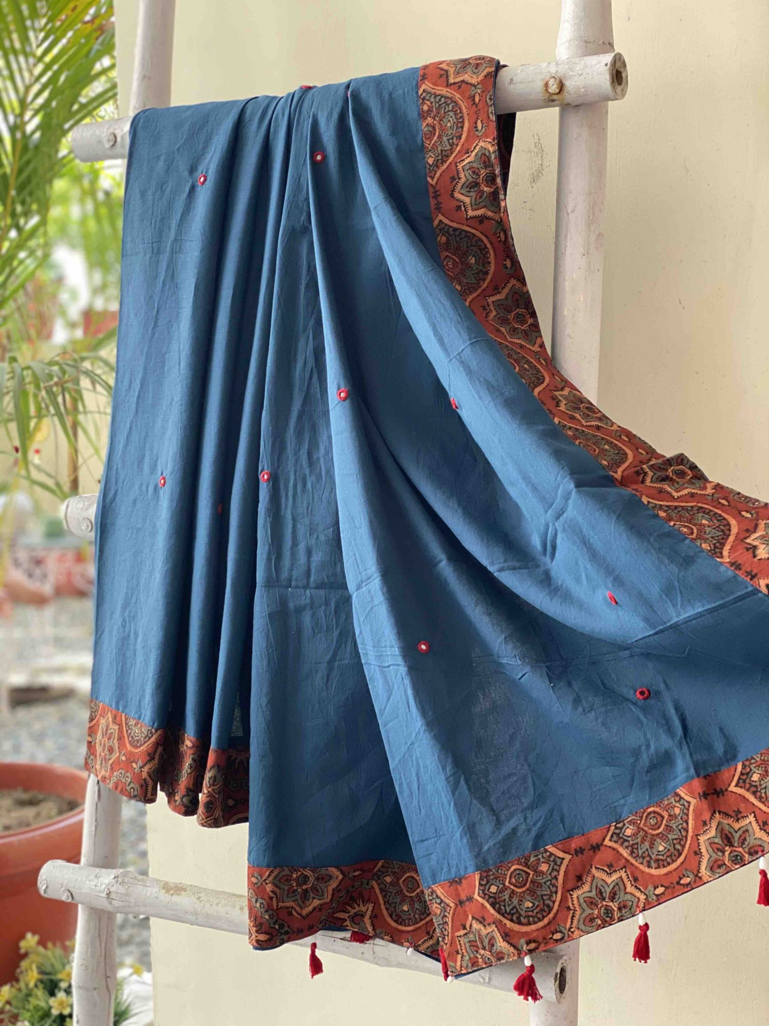 COTTON MULL AJRAKH PATCH AND MIRROR EMBROIDERED SARI