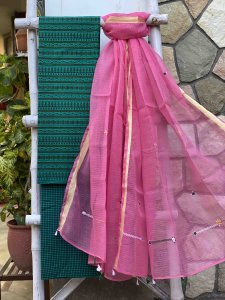 peacock GREEN  & PINK KOTA HAND EMBROIDERED DUPATTA SET
