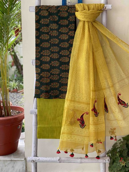 green & yellow COTTON BLOCK PRINT EMBROIDERED KOTA DUPATTA SET