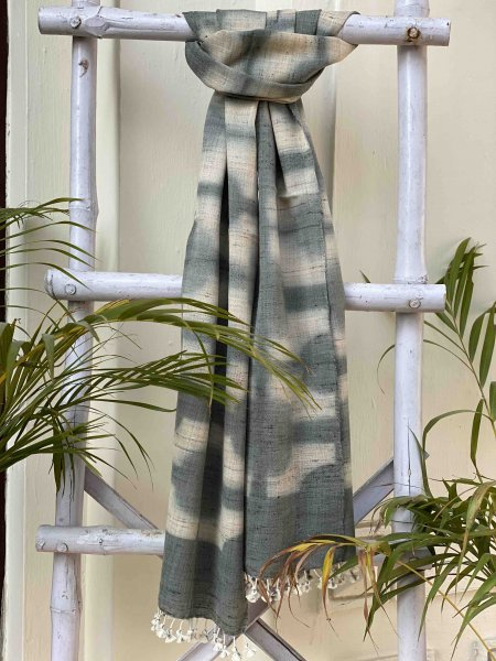BEIGE & GREY CLAMP DYE SILK & WOOL STOLE