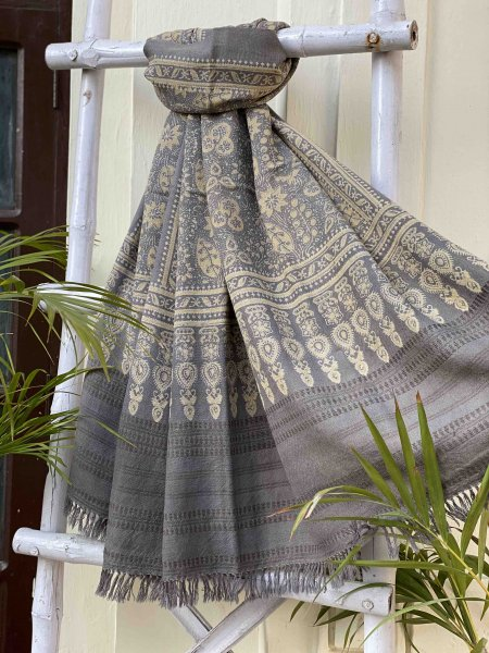 GREY AJRAKH HAND DYED PURE WOOL SHAWL