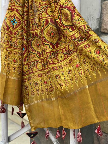 MUSTARD & RED AJRAKH HAND DYED CHANDERI HAND EMBROIDERED DUPATTA