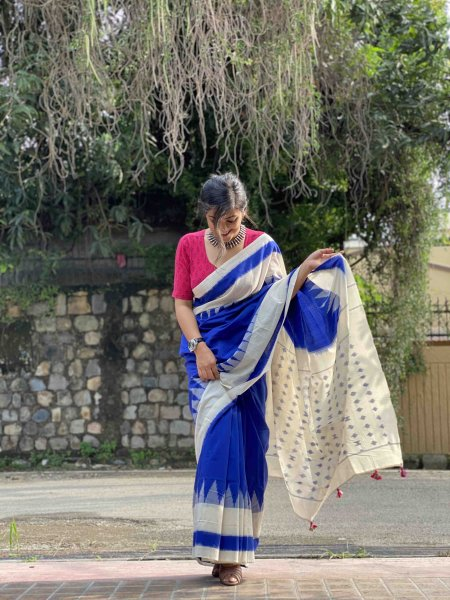 BLUE &  WHITE IKKAT COTTON WOVEN SARI