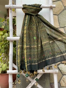 GREEN AJRAKH HAND DYED CHANDERI HAND EMBROIDERED DUPATTA