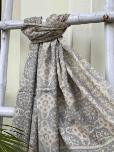 GREY Pure wool ajrakh hand dyed stole