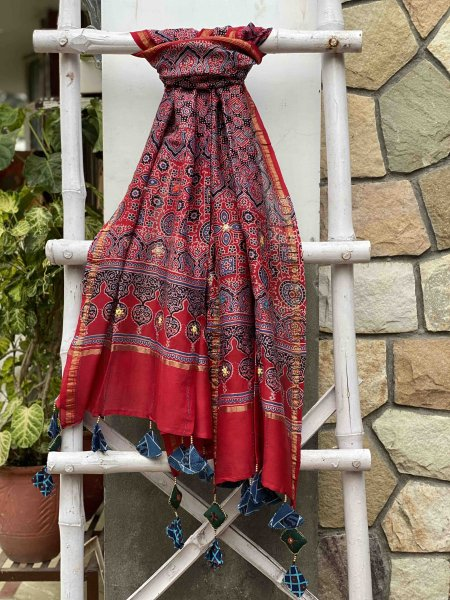 RED AJRAKH HAND DYED CHANDERI HAND EMBROIDERED DUPATTA