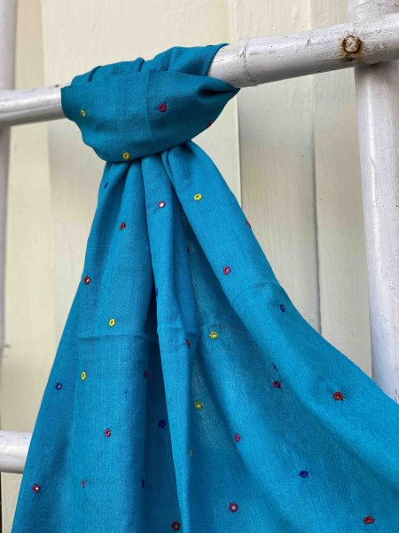 BLUE Pure wool hand dyed MIRROR EMBROIDERED Stole