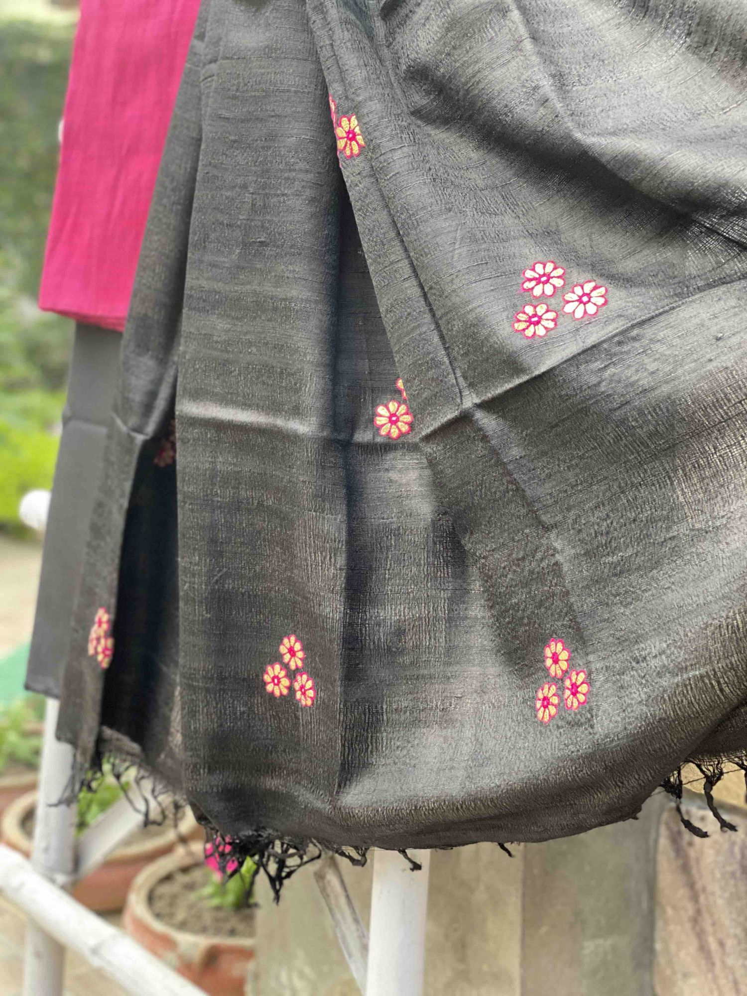 RUBY PINK & BLACK SILK GOTAPATTI EMBROIDERED DUPATTA SET