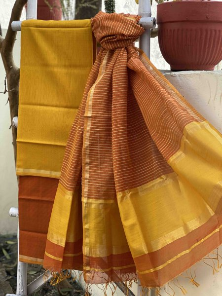 MUSTARD & ORANGE  MAHESHWARI SILK & COTTON GHICHA WOVEN DUPATTA SET