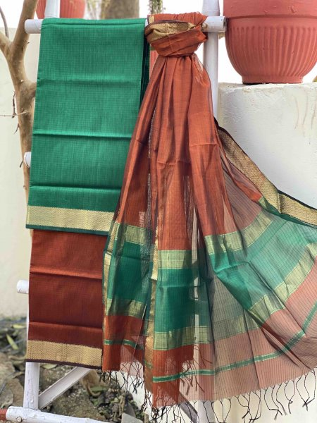 GREEN & RUST MAHESHWARI SILK & COTTON DUPATTA SET
