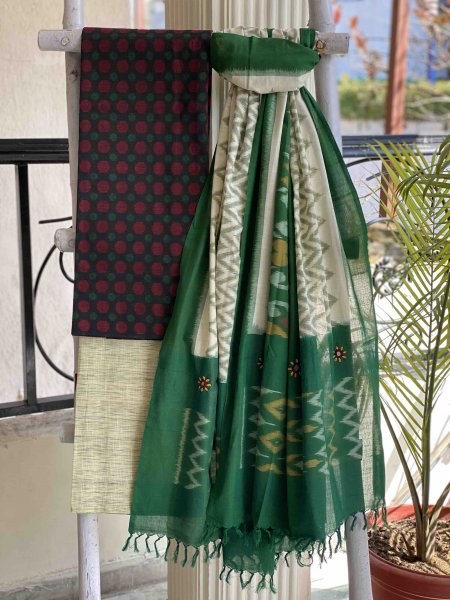 BLACK-GREY & GREEN  IKKAT EMBROIDERED DUPATTA SET