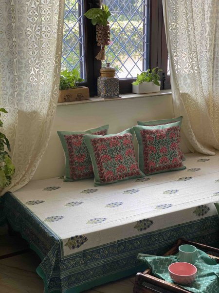 OFF WHITE & BLUE  Block Print Single Bedsheet