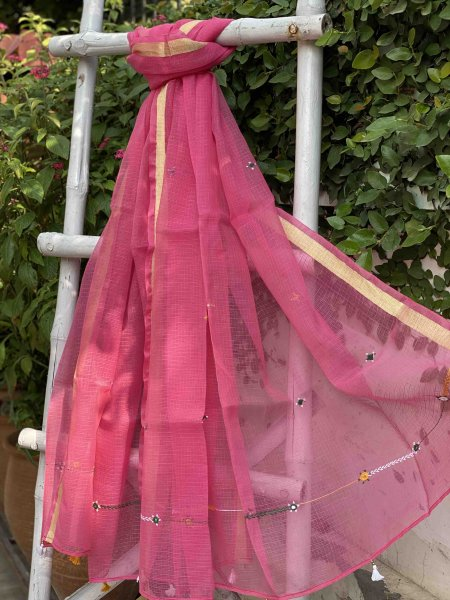 PINK  KOTA COTTON HAND EMBROIDERED DUPATTA
