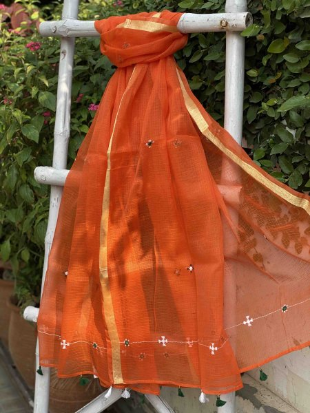 ORANGE KOTA COTTON HAND EMBROIDERED DUPATTA