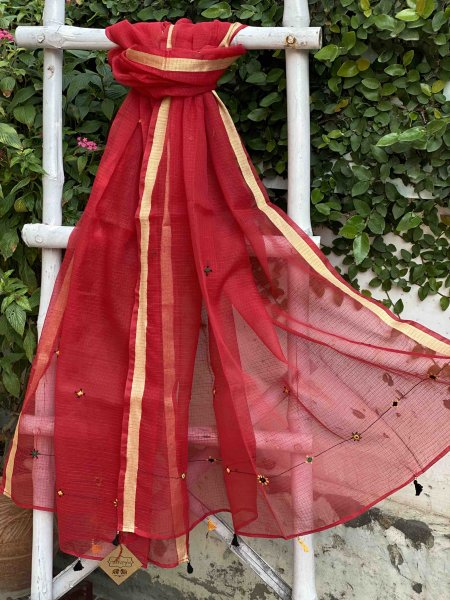 RED KOTA COTTON HAND EMBROIDERED DUPATTA