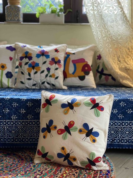 Cotton Felt Applique BUTTERFLY Cushion Cover 16 X 16
