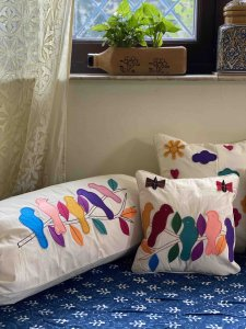Cotton Felt Applique multi birdy Bolster Cover (set Of 2)