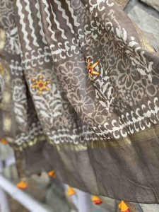 grey CHANDERI COTTON EMBROIDERED DUPATTA SET
