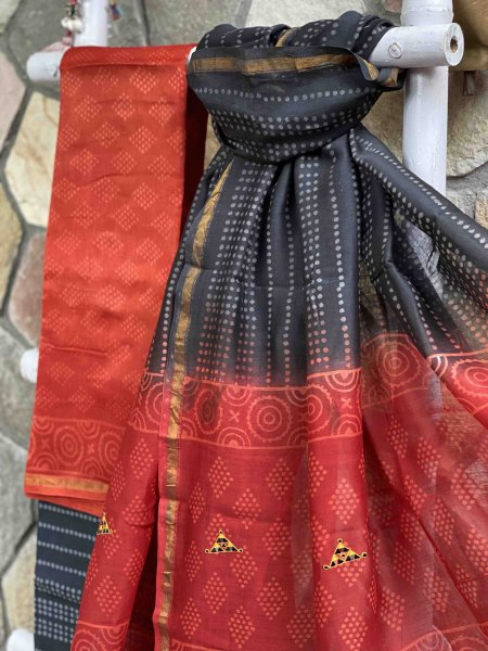 RED & BLACK CHANDERI COTTON EMBROIDERED DUPATTA SET