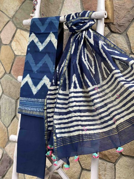 INDIGO CHANDERI COTTON EMBROIDERED DUPATTA SET