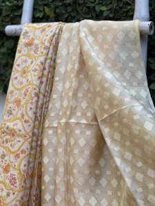 OFF WHITE & YELLOW PRINTED JUTE TUSSAR SILK TISSUE JAMDANI WOVEN PALLA SARI