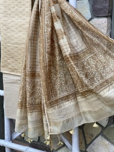 BEIGE CHANDERI SILK & COTTON GHICHA WOVEN PALLA  DUPATTA SET