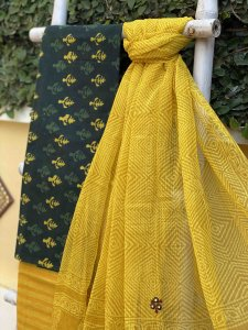 GREEN & YELLOW COTTON EMBROIDERED KOTA DUPATTA SET