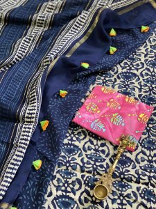INDIGO  BLOCK PRINT CHANDERI SILK COTTON SARI