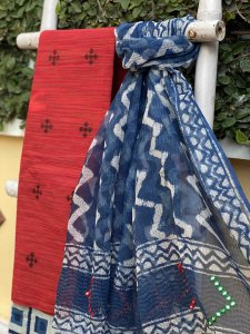 RED & INDIGO COTTON EMBROIDERED KOTA DUPATTA SET