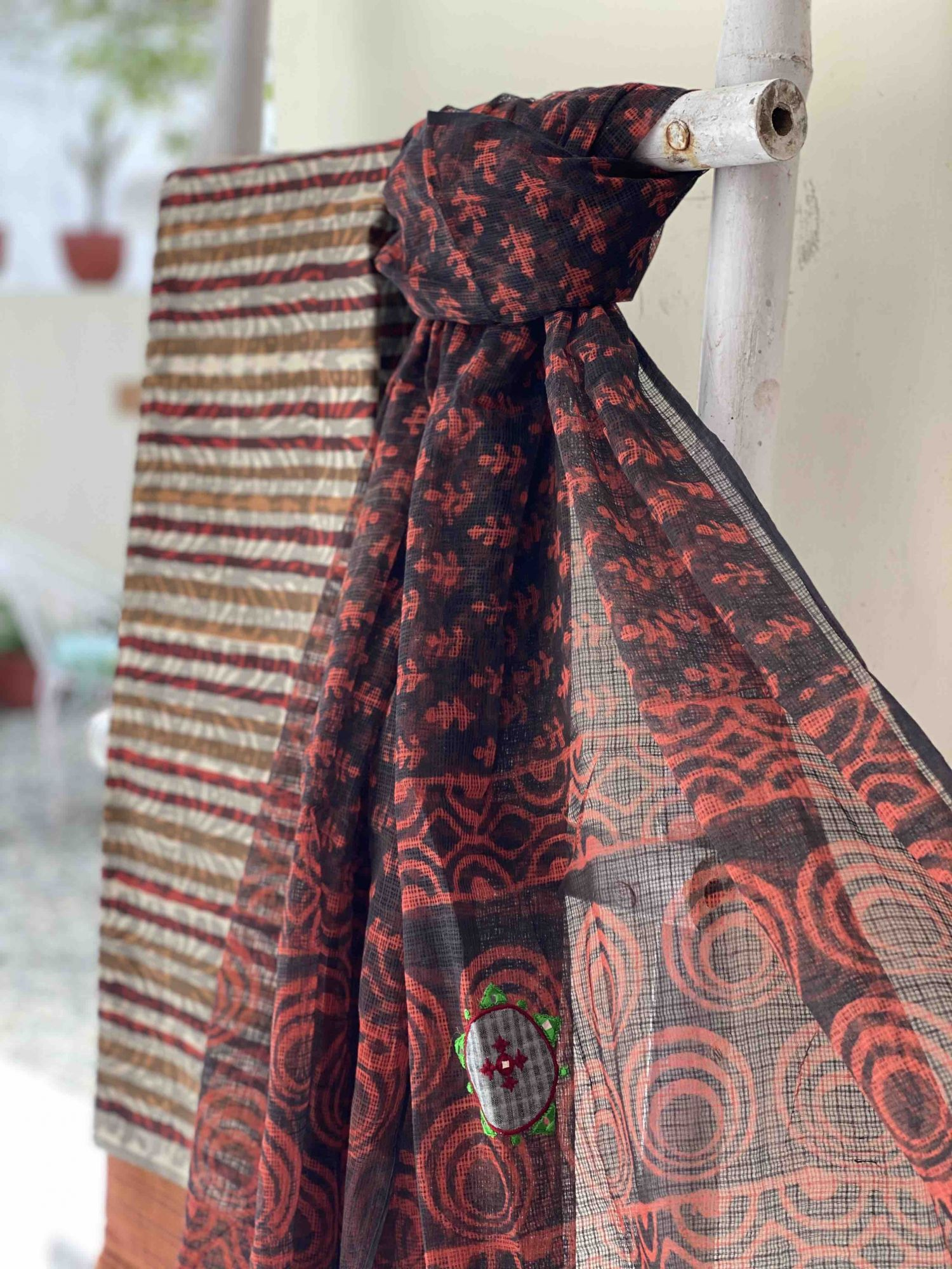 BROWN COTTON BLOCK PRINT EMBROIDERED KOTA DUPATTA SET