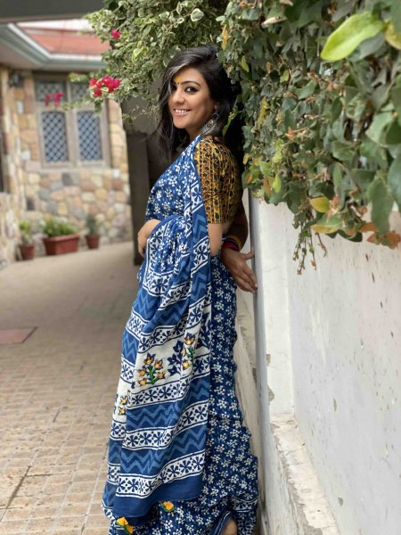 INDIGO COTTON MULL HAND EMBROIDERED PALLA SARI