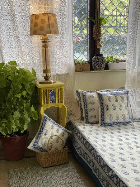 WHITE & BLUE COTTON BLOCK PRINT double BEDSHEET