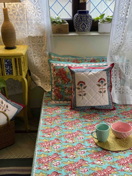 BLUE &  PINK COTTON BLOCK PRINT KING BEDSHEET