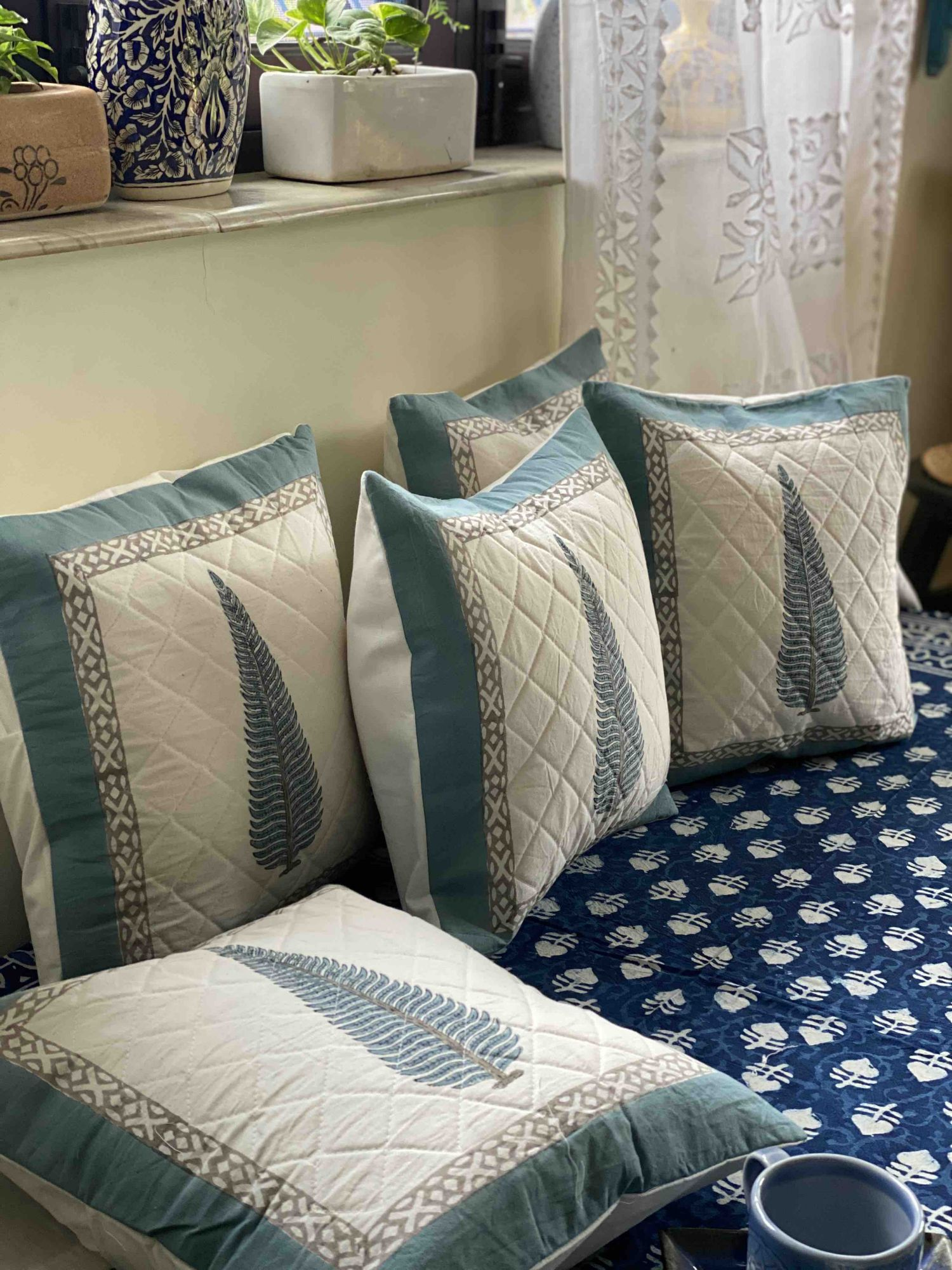 White & Blue Block Print Cotton Quilted Cushion Cover 16x16