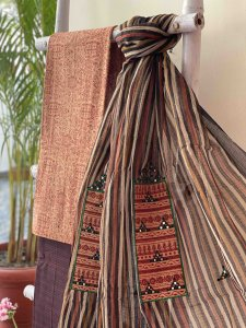 BEIGE AND MAROON COTTON BLOCK PRINT EMBROIDERED KOTA DUPATTA SET
