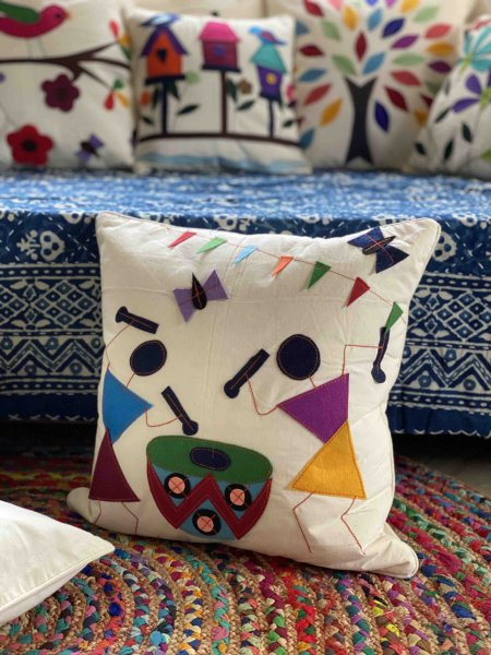Cotton Felt Applique TRIBAL Cushion Cover 16 X 16