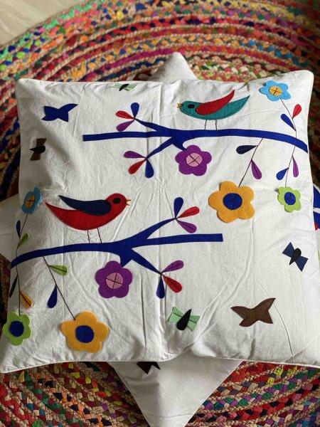 Cotton Felt Applique  birdy Cushion Cover 24 X 24