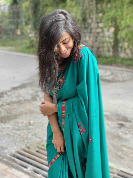 teal COTTON EMBROIDERED PALLA CONCEPT SARI