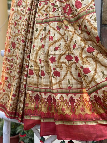 Beige & red shaded chequered printed pure silk sari