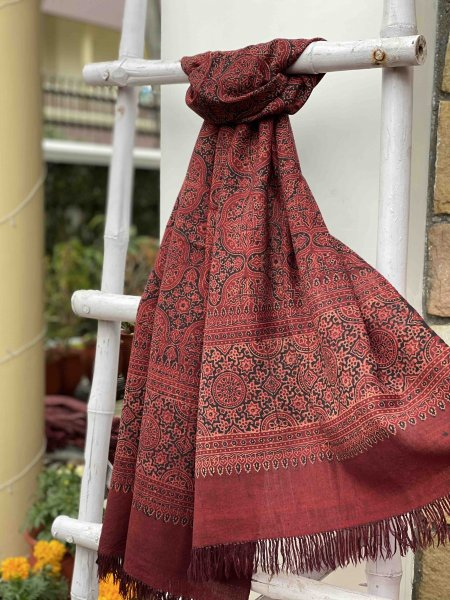 Pure wool ajrakh hand dyed stole