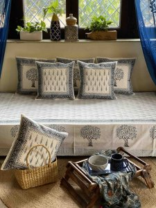 WHITE & greyish-blue  Block Print Single Bedsheet