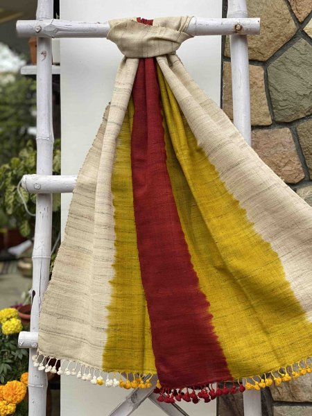 TRI-COLOR SHADED SILK & WOOL HAND DYED STOLE
