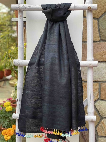 BLACK  SILK & WOOL HAND DYED  SHAWL