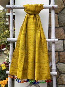 YELLOW   SILK & WOOL HAND DYED  STOLE